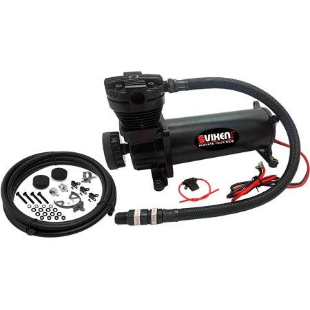 "Vixen Air 200 PSI Heavy Duty Suspension/Air Ride/Bag/Train Horn Air Compressor/Pump with 3/8"" Stainless Steel Braided Hose, 3/8"" NPT Check Valve and Remote Mount Air Filter Kit 12V Black VXC480B"