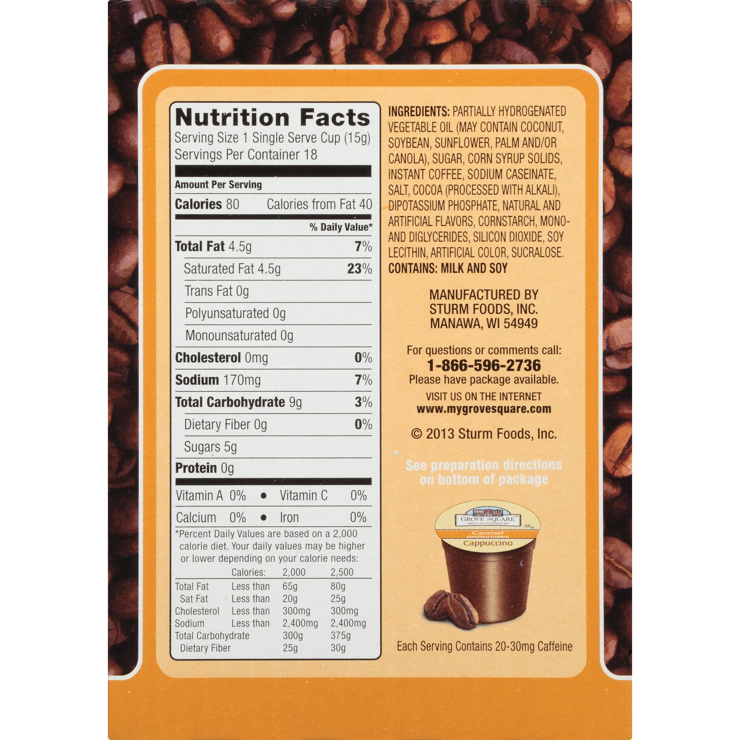 Grove Square Caramel Cappuccino K Cups Nutrition Besto Blog