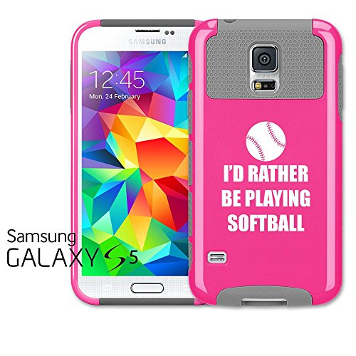 Samsung Galaxy S5 Shockproof Impact Hard Case Cover I'd Rather Be Playing Softball (Hot Pink-Grey),MIP