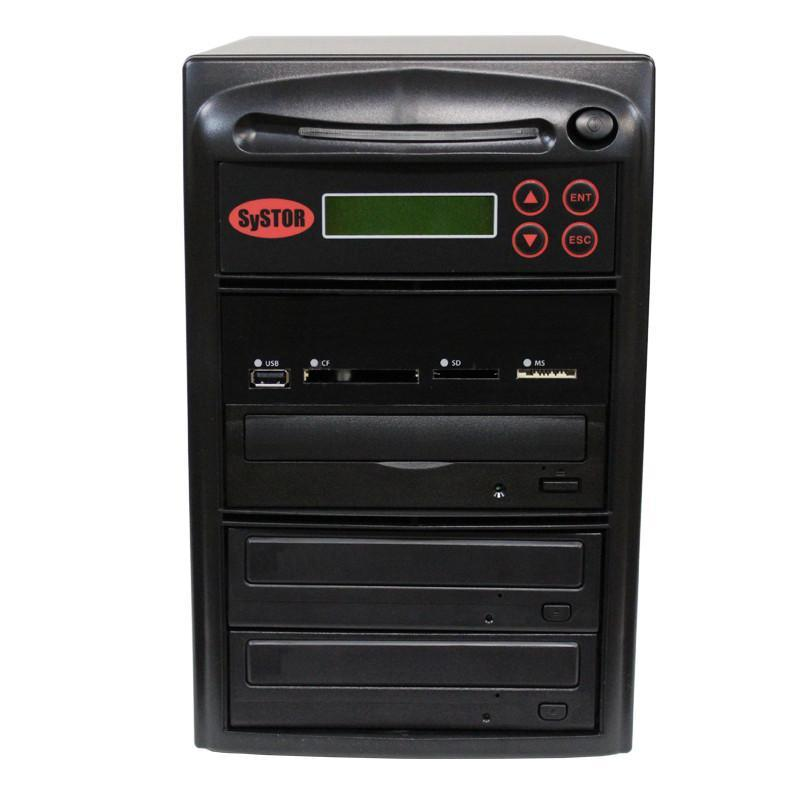 SySTOR 1:2 M-Disc Support CD DVD Duplicator + USB/SD/CF to Disc Backup Copier Tower