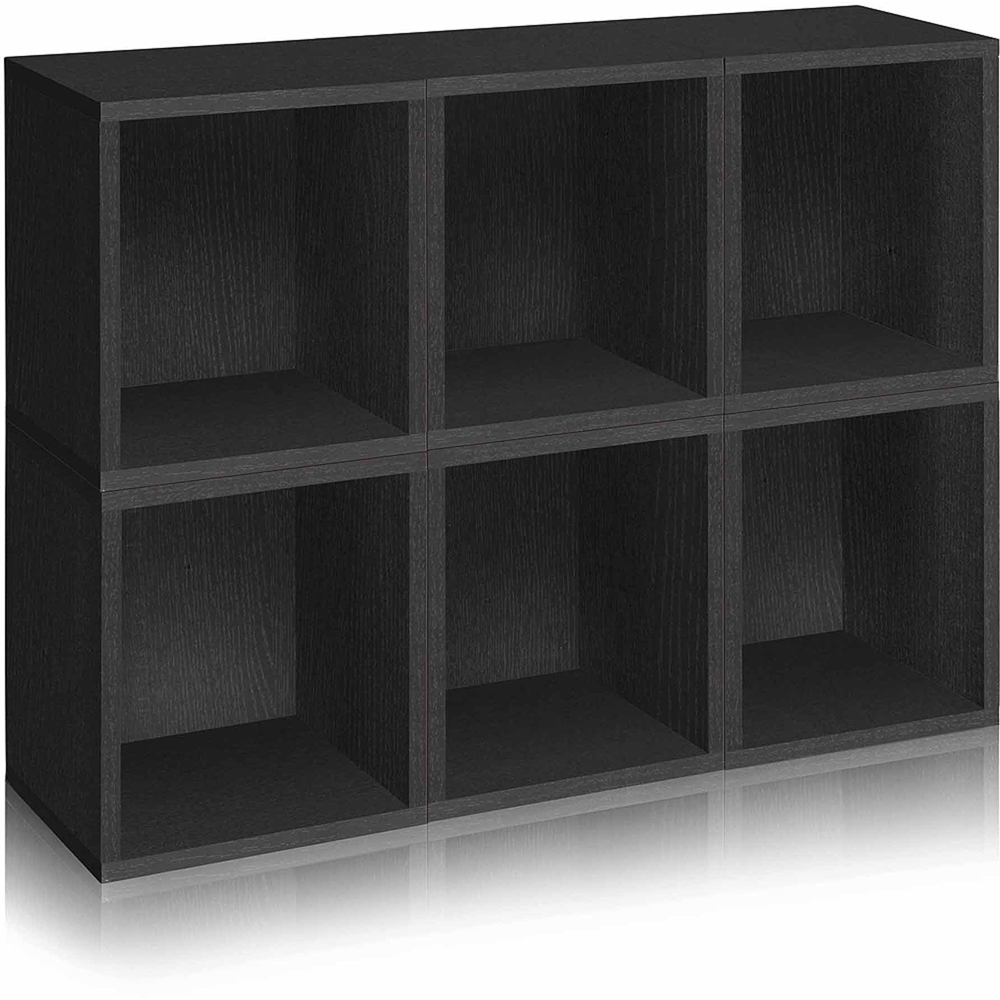 Way Basics Eco Stackable Modular Storage Cubes Plus, Black, 6-Pack