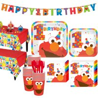 1st Birthday Elmo Party Kit for 32 Guests, with Table Decorating Kit and Banners