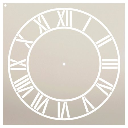 Country Home Clock Face Stencil by StudioR12 | Roman Numerals Clock Art - Reusable Mylar Template | Painting, Chalk, Mixed Media | DIY Decor - STCL2332 - SELECT SIZE (16