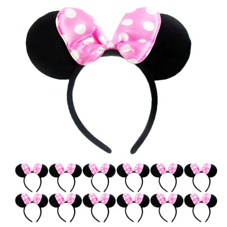 Minnie Mouse Ears Party Favors (12Pc Minnie Mouse Ears Headbands Red Pink Polka Dot Bow Costume Party Favor)