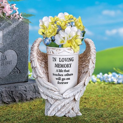 Beautiful Memorial Vase Angel Wings Garden Flower Holder Gravesite Outdoor Decor - Angel Wing Decorations