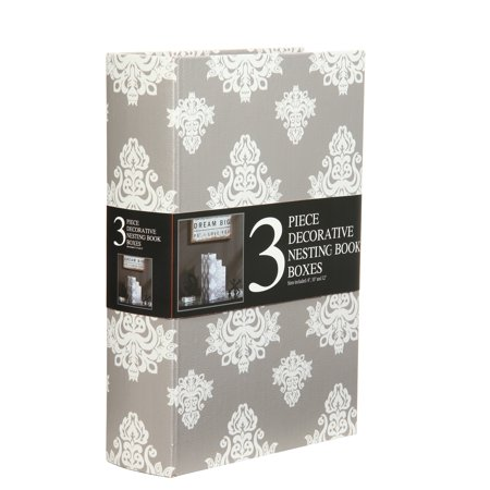 Tabletop Gray Storage Books Set Of 3