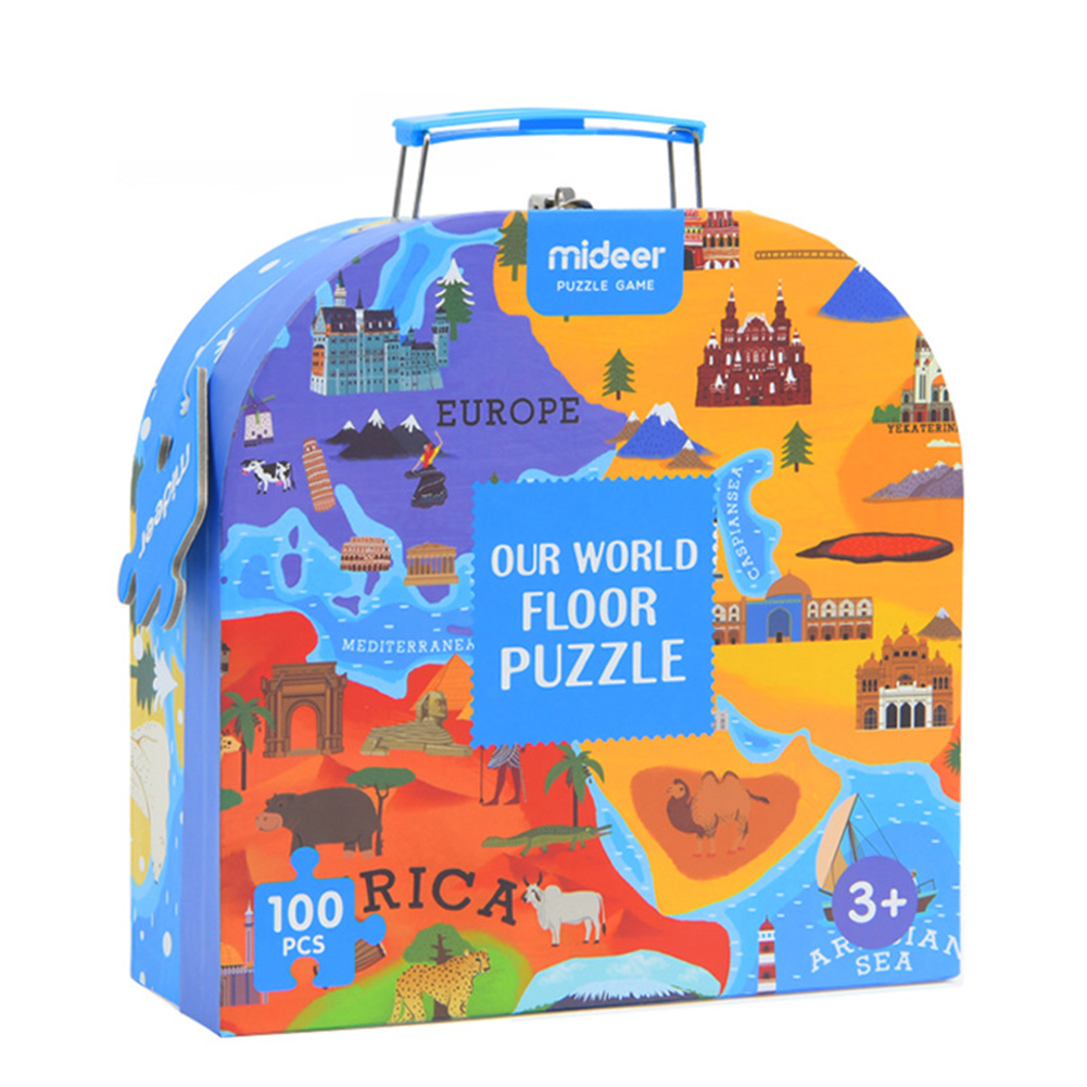 World Map Jigsaw Puzzle Kids Educational Toys Culture Geography Recognition Toy Gift 100PCS Set Color:Gift Box by