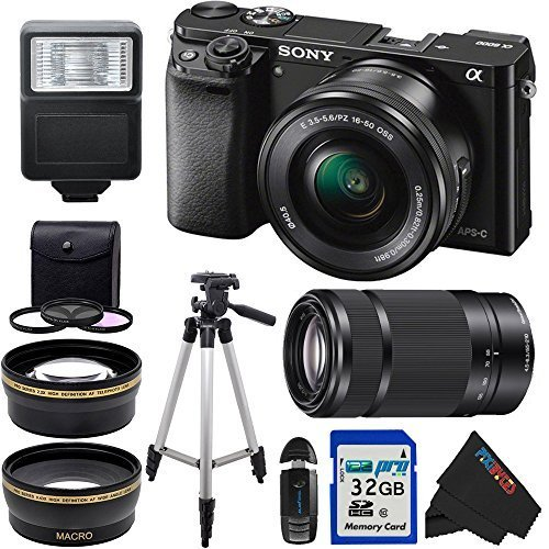 Sony Alpha a6000 ILCE6000 Camera with 16-50mm Lens and Sony E 55-210mm F4.5-6.3 OSS (Black) with the Pixi-Basic Accessory Bundle