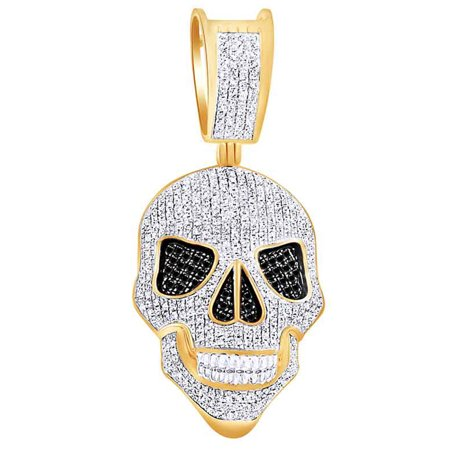 1 Cttw Round Black & White Natural Diamond Iced Out Hip Hop Jewelry Skull Pendant In 10k Solid Yellow Gold 10k Gold Birthstone Flower Pendant