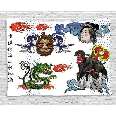 Dragon Decor Tapestry, Japanese Manga Figures Dragon with Fire a Man with Kimono Geisha Tribal Theme, Wall Hanging for Bedroom Living Room Dorm Decor, 60W X 40L Inches, Green Blue, by Ambesonne