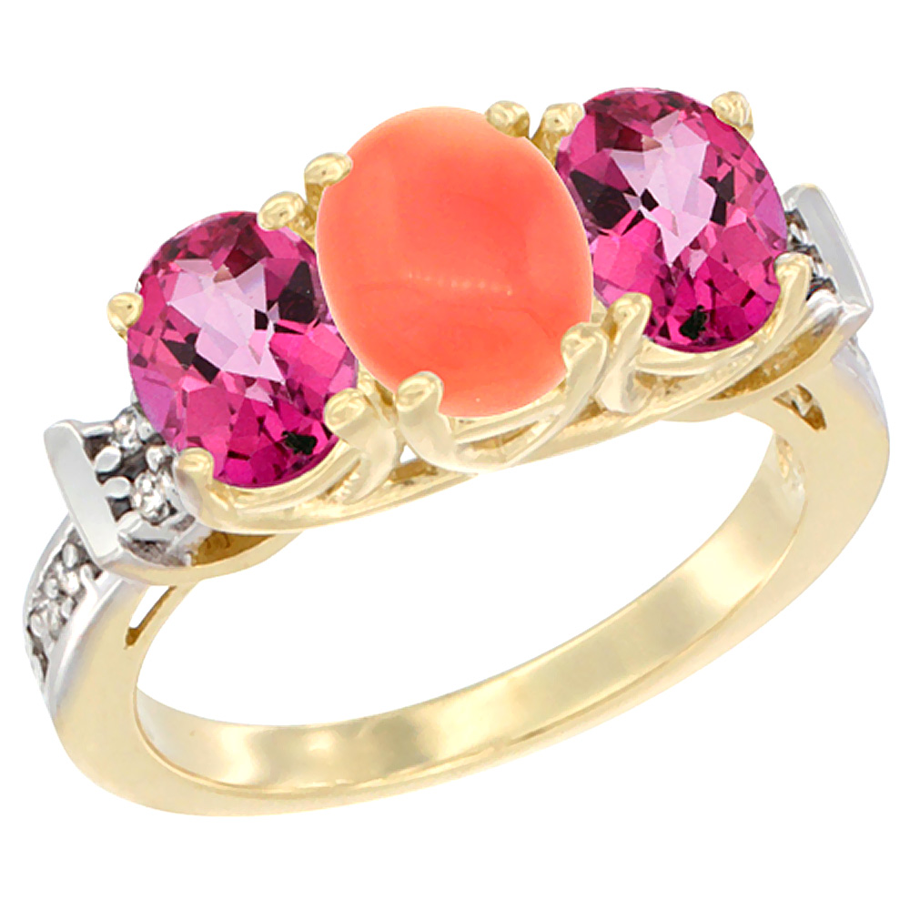 14K Yellow Gold Natural Coral & Pink Topaz Sides Ring 3-Stone Oval Diamond Accent, sizes 5 10 by WorldJewels