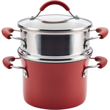 Rachael Ray Cucina Hard Porcelain Enamel Nonstick 3-Qt Covered Multi-Pot Set with Steamer, Cranberry Red