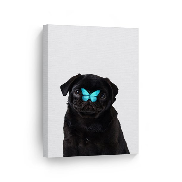 Smile Art Design Portrait Of French Bulldog With Blue Butterfly Animal Canvas Wall Art Print Pet