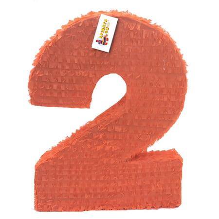 Large Pinata (APINATA4U Large Solid Orange Number Two Pinata Second)