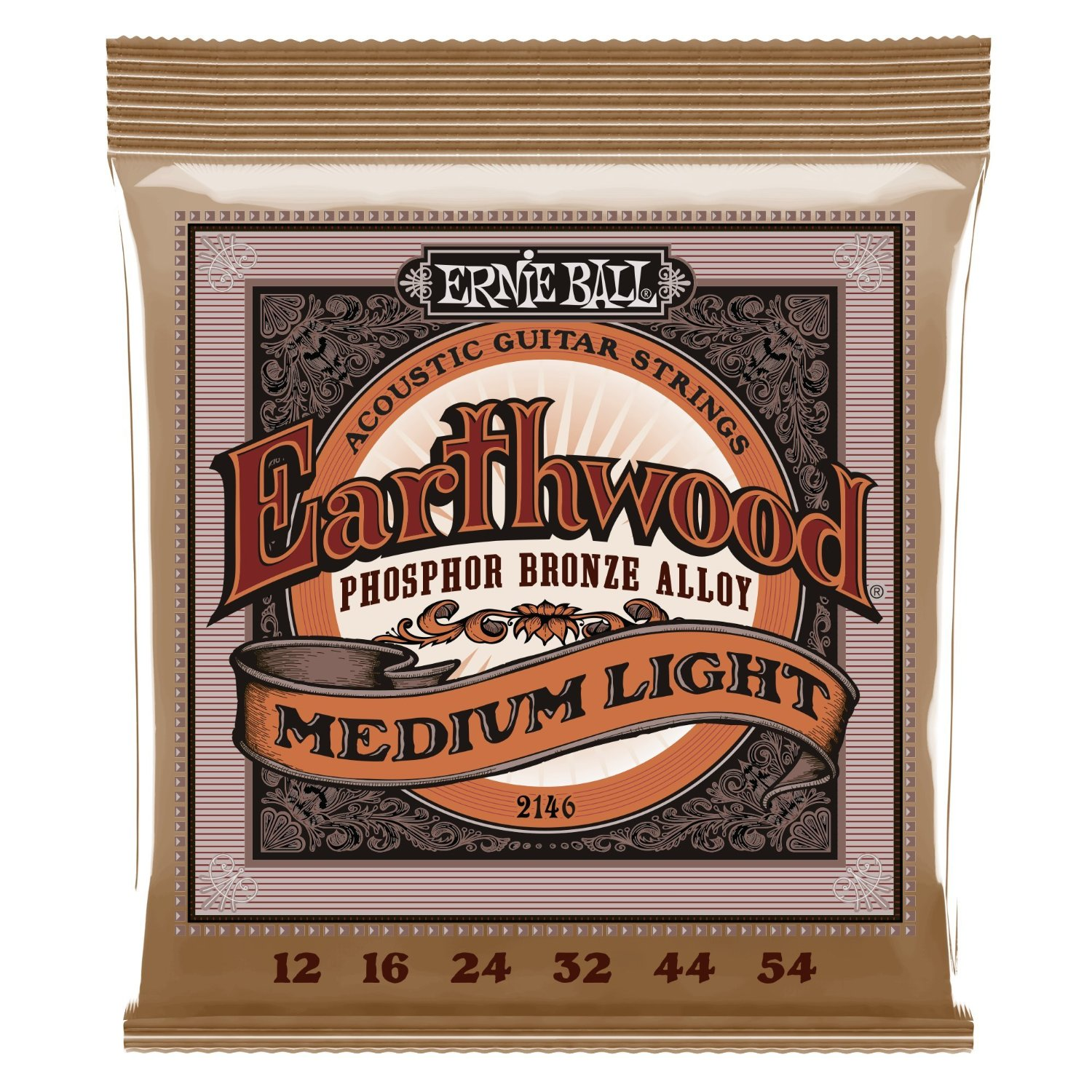 Ernie Ball 2146 Earthwood Medium Light Acoustic Phosphor Bronze String Set by Ernie Ball
