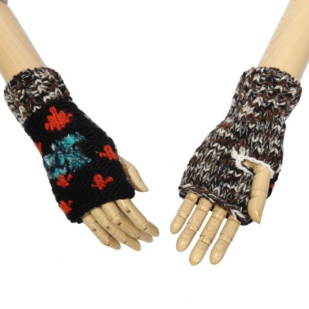 - Multi-Color Soft Down to Earth Patch Pattern Design Knitted Fingerless Gloves