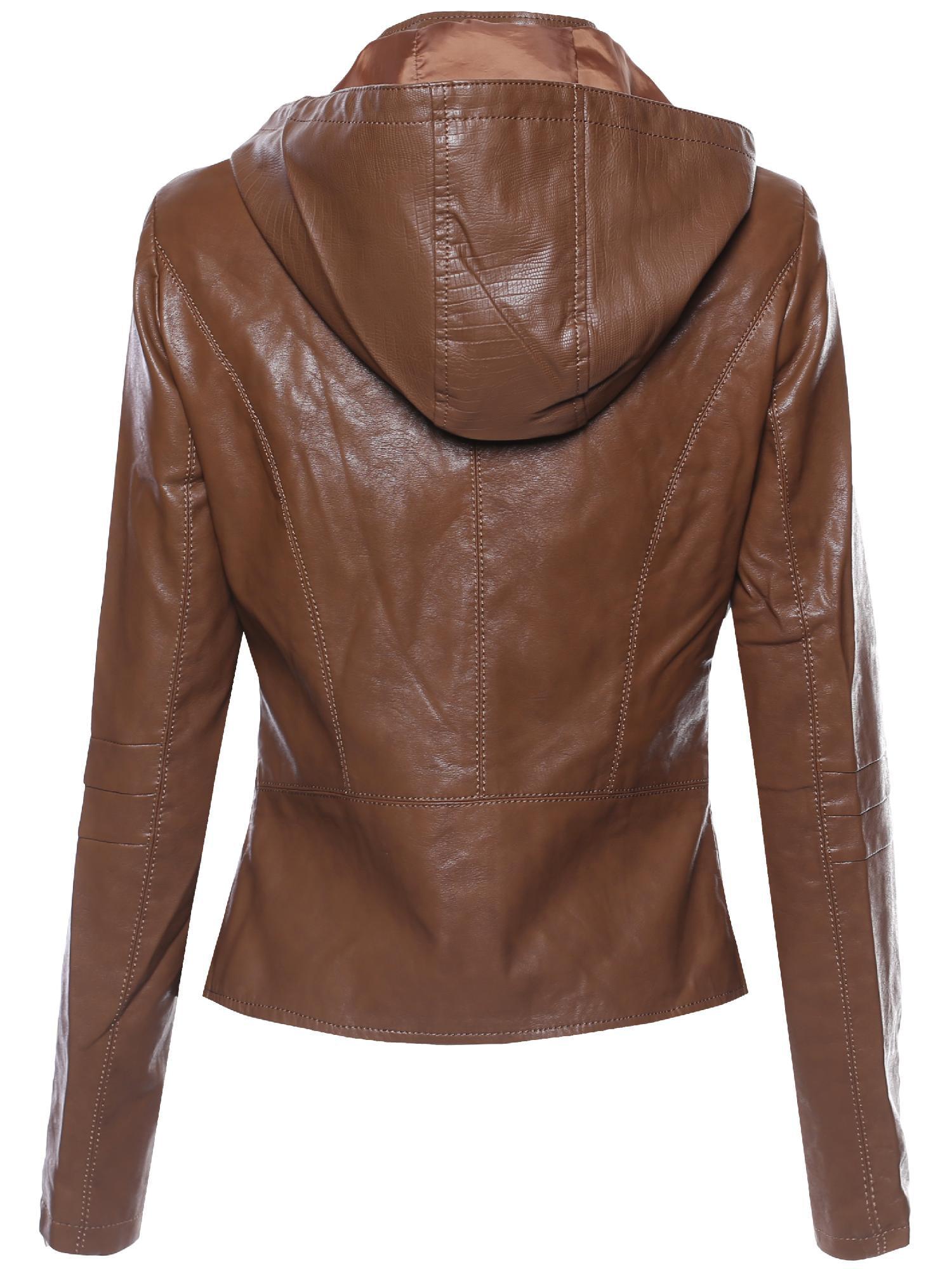 6eb399018c8fe FashionOutfit - FashionOutfit Women's Bike Rider Moto Leather Jacket with Detachable  Hood - Walmart.com