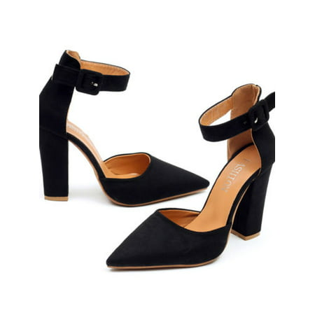 (Womens Pointed Toe Sandals Block High Heels Pumps Ankle Strappy Shoes)