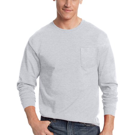 Basic Dark T-shirt (Hanes Men's Tagless Cotton Long Sleeve Pocket Tshirt )