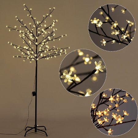 Costway christmas xmas cherry blossom led tree light floor for Cherry tree floor lamp