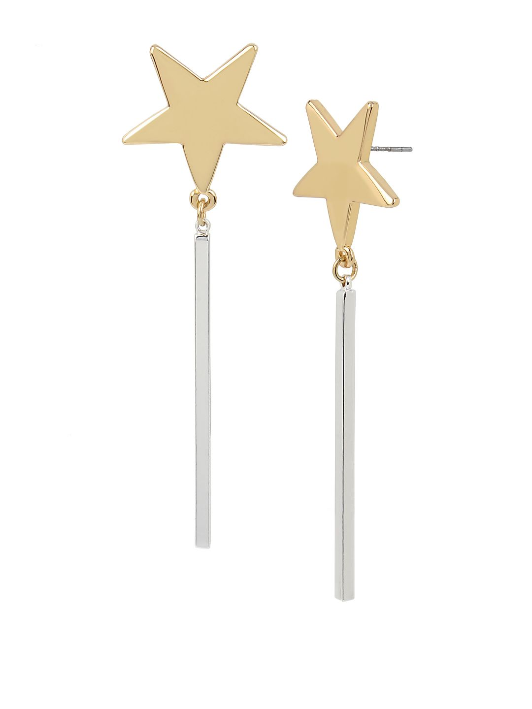 Starry Night Two-Tone Star Linear Drop Earrings
