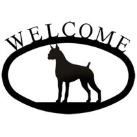 Village Wrought Iron WEL-244-S Welcome Sign-Plaque - Boxer - Dog
