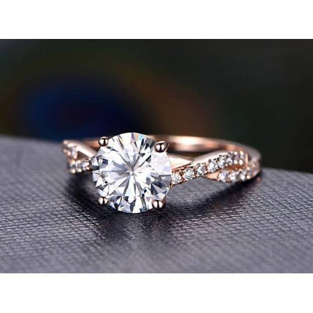 ad38b9f38 JeenMata - 1.25 Carat infinity Round cut Moissanite and Diamond Engagement  Ring in 14k Rose Gold - Walmart.com
