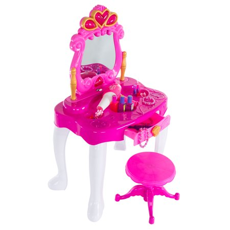 Pretend Play Princess Vanity with Stool, Accessories, Lights, Sounds by Hey! Play!