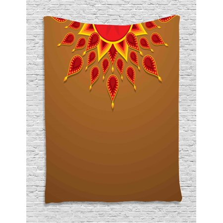 Celebration Caramels (Diwali Tapestry, Oriental Paisley Design with Sun Beams Like Details for Festive Celebration Theme Print, Wall Hanging for Bedroom Living Room Dorm Decor, Caramel, by)