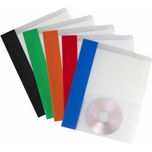 Storex Thicker Poly 2-Pocket Clear Folder