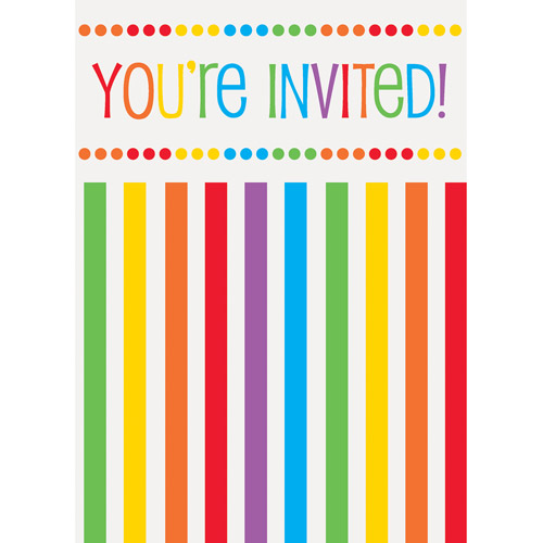 rainbow birthday invitations, pk  walmart, Birthday invitations