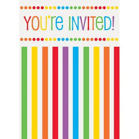 Rainbow Birthday Invitations, 8pk - Ladybug Birthday Party Invitations