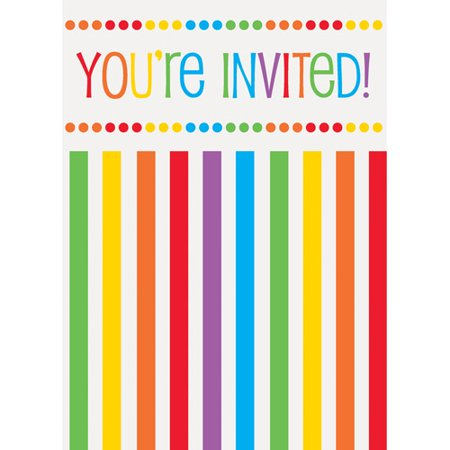 Rainbow Birthday Invitations, 8pk - Golden Ticket Birthday Invitation