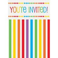 Product Image Rainbow Birthday Invitations 8pk