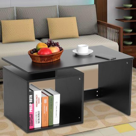 Tea Table Living Room Tables with Bottom Shelf Used for Coffee Tea Table, Dining Table, Writing Table(White,Black,26.4 * 15.6 * 17.3inch) ()