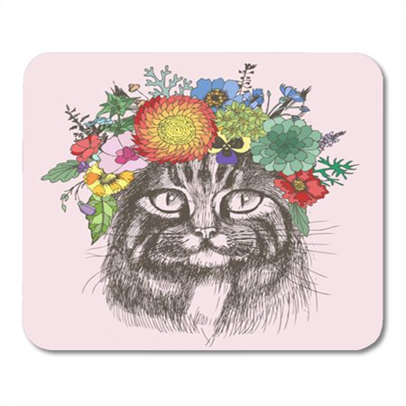 Design Hippie Cat (KDAGR Sketch Maine Coon Cat Portrait with Floral Wreath Separately from Your Design Hippie Mousepad Mouse Pad Mouse Mat 9x10 inch)