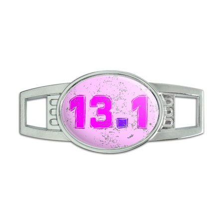 13.1 Marathon Running Pink Distressed Oval Slide Shoe Charm