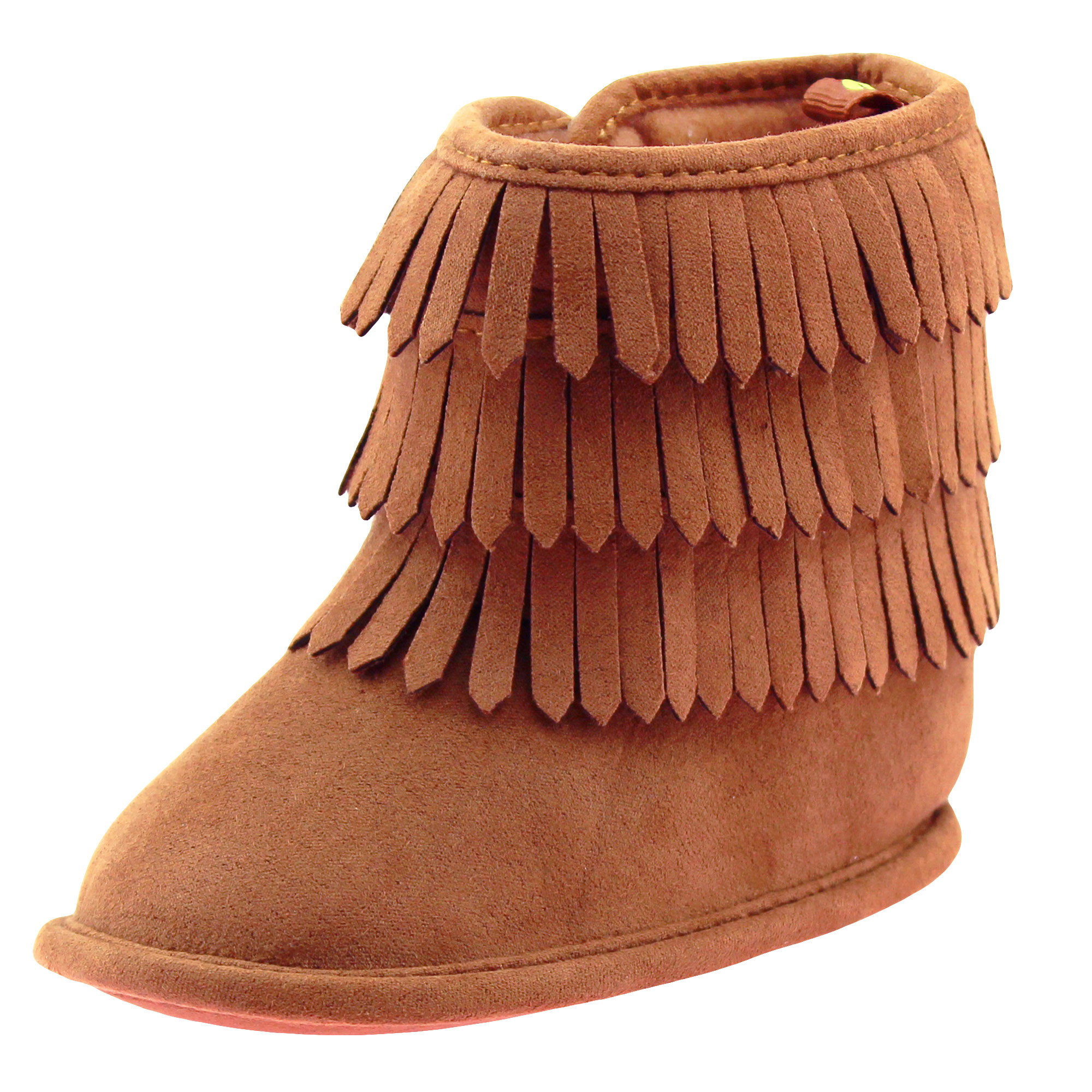 First Steps Fringe Moccasin Baby Girl Boots Micro Suede Booties Chestnut Brown 2