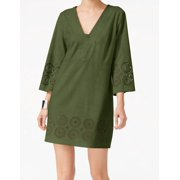Vince Camuto NEW Green Womens Size 6 Faux-Suede Laser Cut Tunic Dress