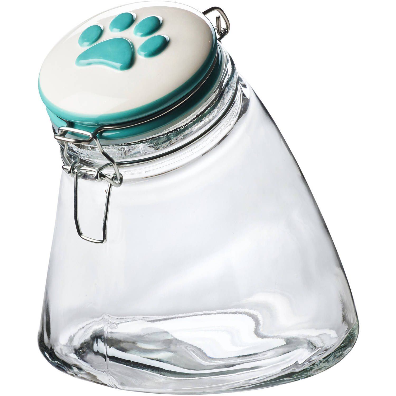 Paw Hermetic Preserving Jar, 56 oz, Turquoise