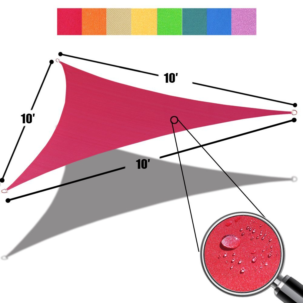 Alion Home Triangle Burgundy Red Waterproof Woven Sun Shade Sail For Patio Pool Deck Porch Garden in Vibrant Colors 10'x 10'x 10'