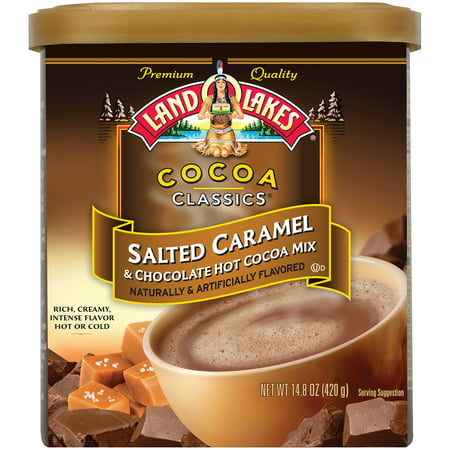 (2 Pack) Land O Lakes, Salted Caramel Flavored Hot Cocoa Mix, 14.8 Oz Canister