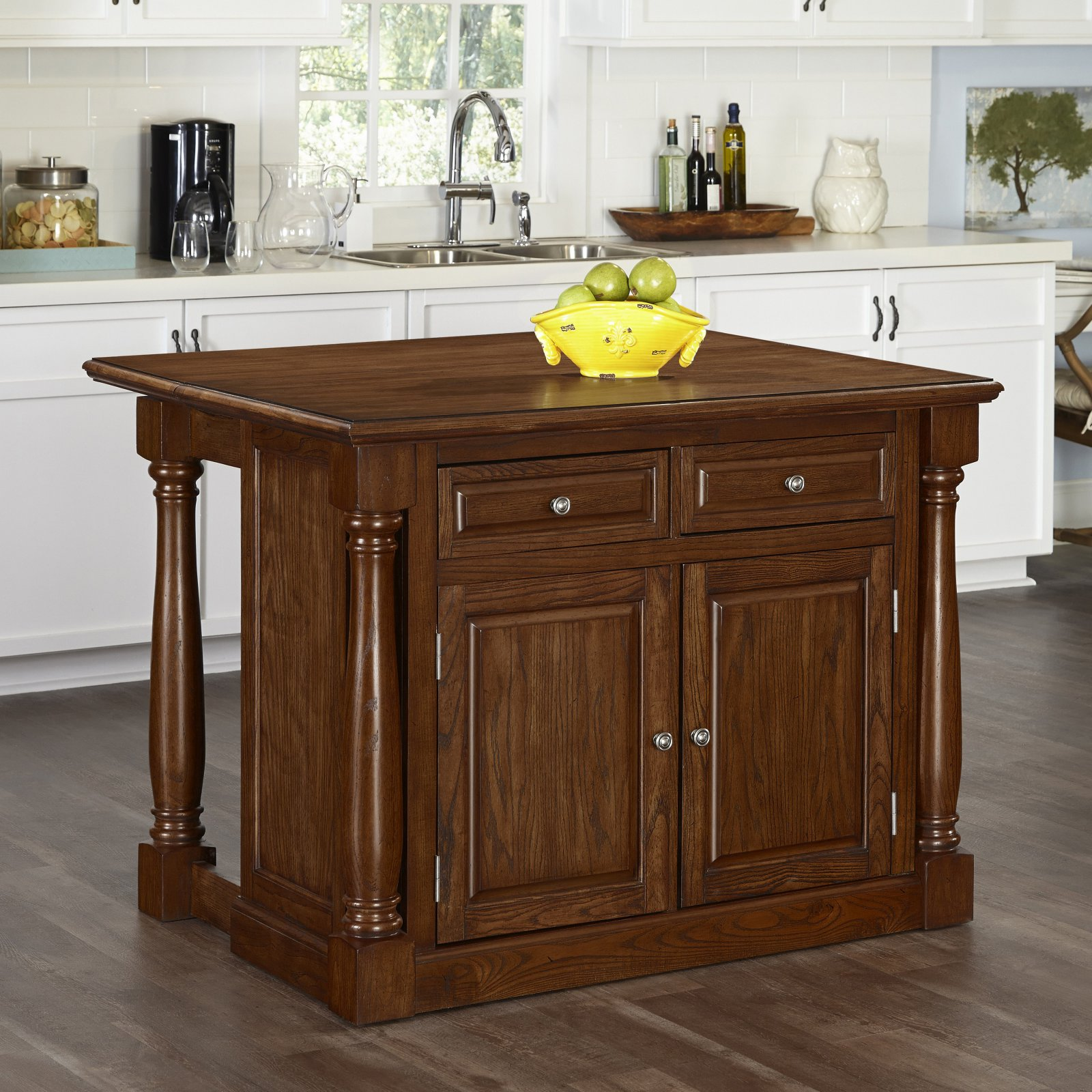 Home Styles Monarch Oak Kitchen Island and 2 Stools