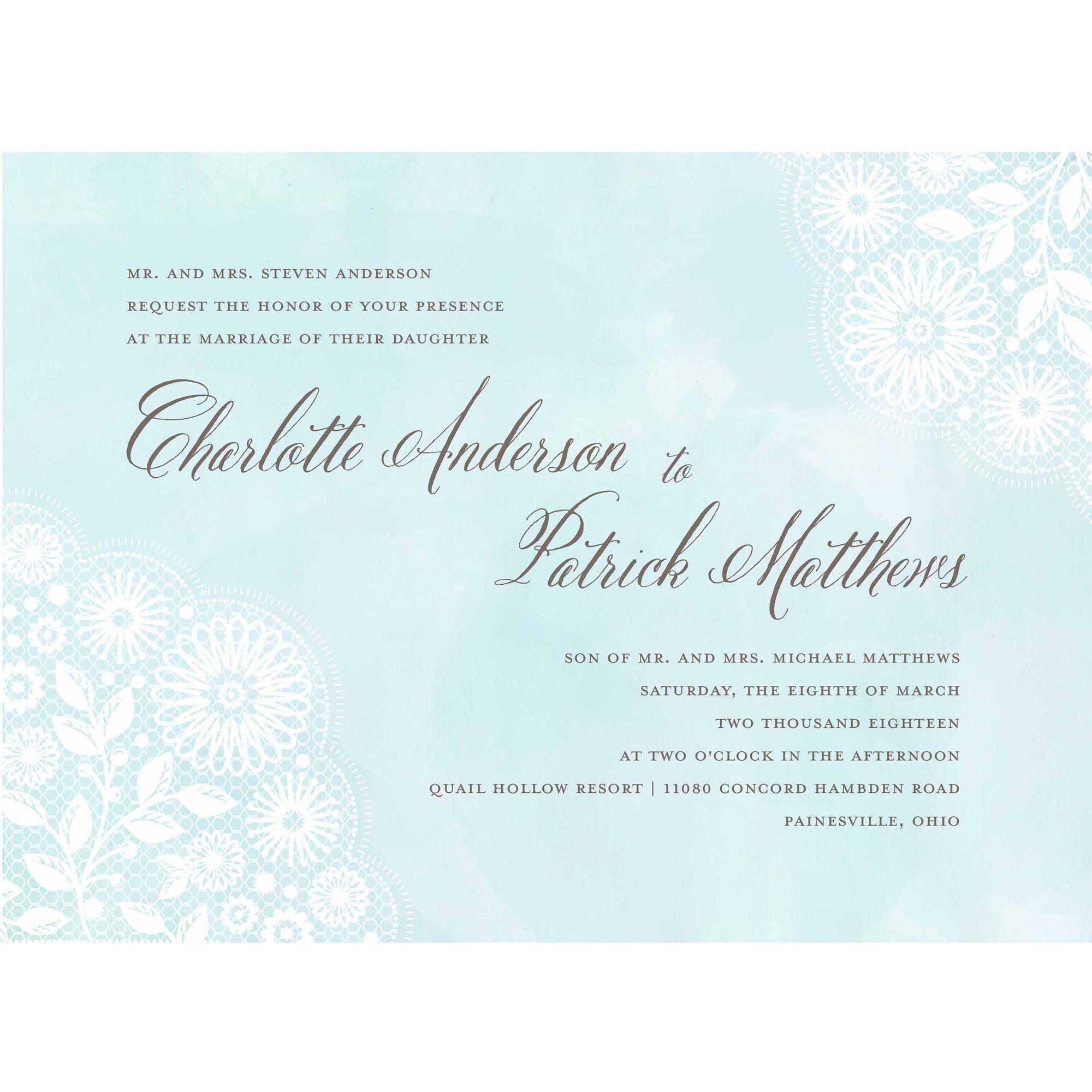Watercolor Lace Standard Wedding Invitation