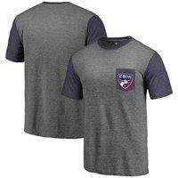 FC Dallas Fanatics Branded Tri-Blend Pocket T-Shirt - Heathered Gray/Navy