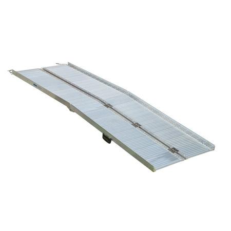 Aluminum Folding Ramps >> Homcom 10 Portable Textured Aluminum Folding Wheelchair Threshold