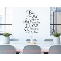 Kitchen Wall Art Decals Bless This Day Amen Love Vinyl Letter Stickers 23x17-Inch Black