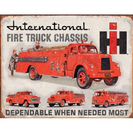 International Fire Truck Chassis Tin Sign - 16x12