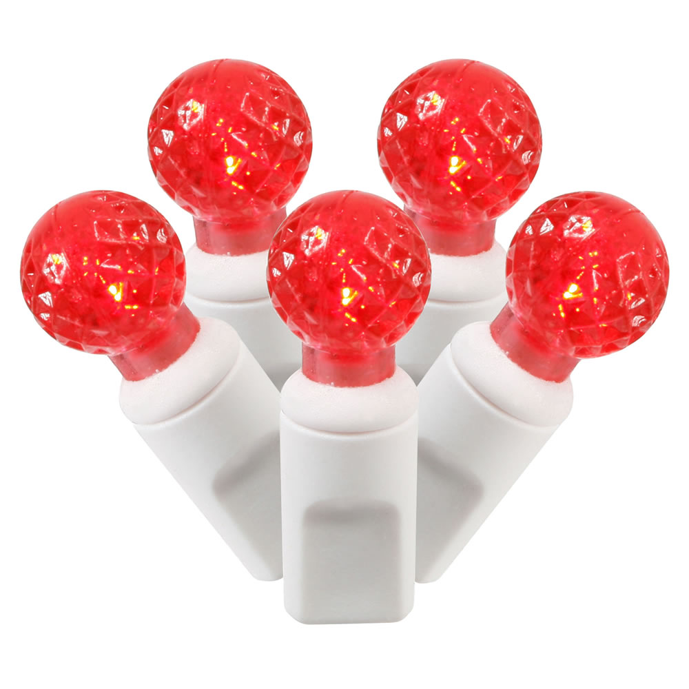 "Set of 50 Red Commercial Grade LED G12 Berry Christmas Lights 6"" Spacing - White Wire"