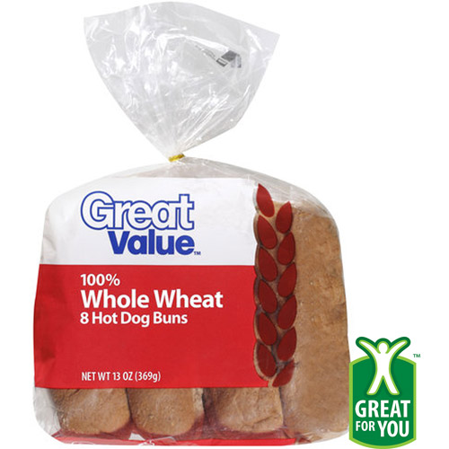 Great Value 100% Whole Wheat Hot Dog Buns, 8ct